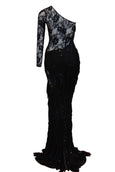 Rent : Eko Tjandra - Black Tassel One Off Shoulder Long Sleeve Evening Dress