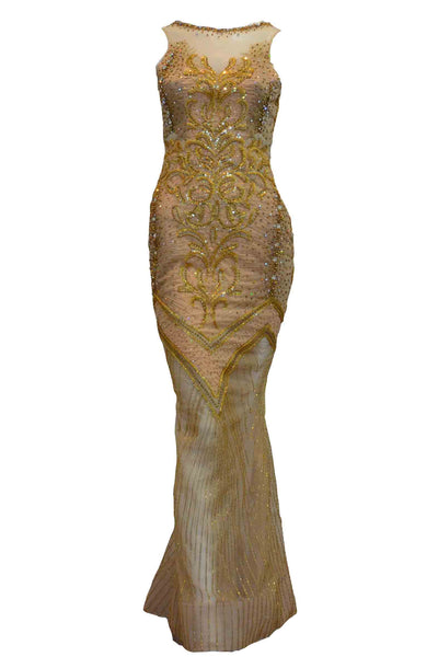 Buy : Eko Tjandra - Gold Beaded Mermaid Gown