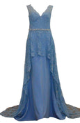 Rent : Duchess - Blue Brocade V Neck Gown