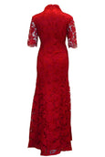 Rent : Mandarin Peony - Red 3/4 Sleeves Brocade Cheongsam Dress