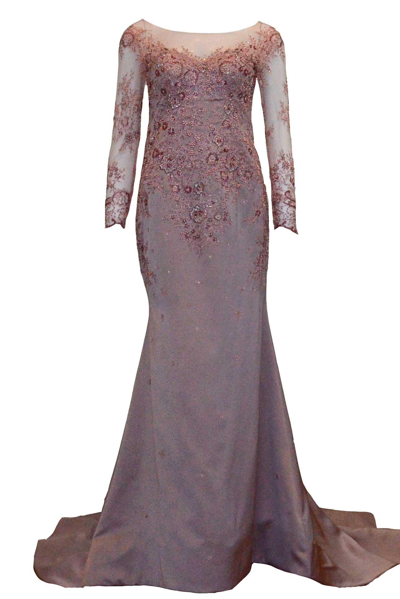 Buy : Sisca Zh - Short Sleeves Brocade Evening Gown
