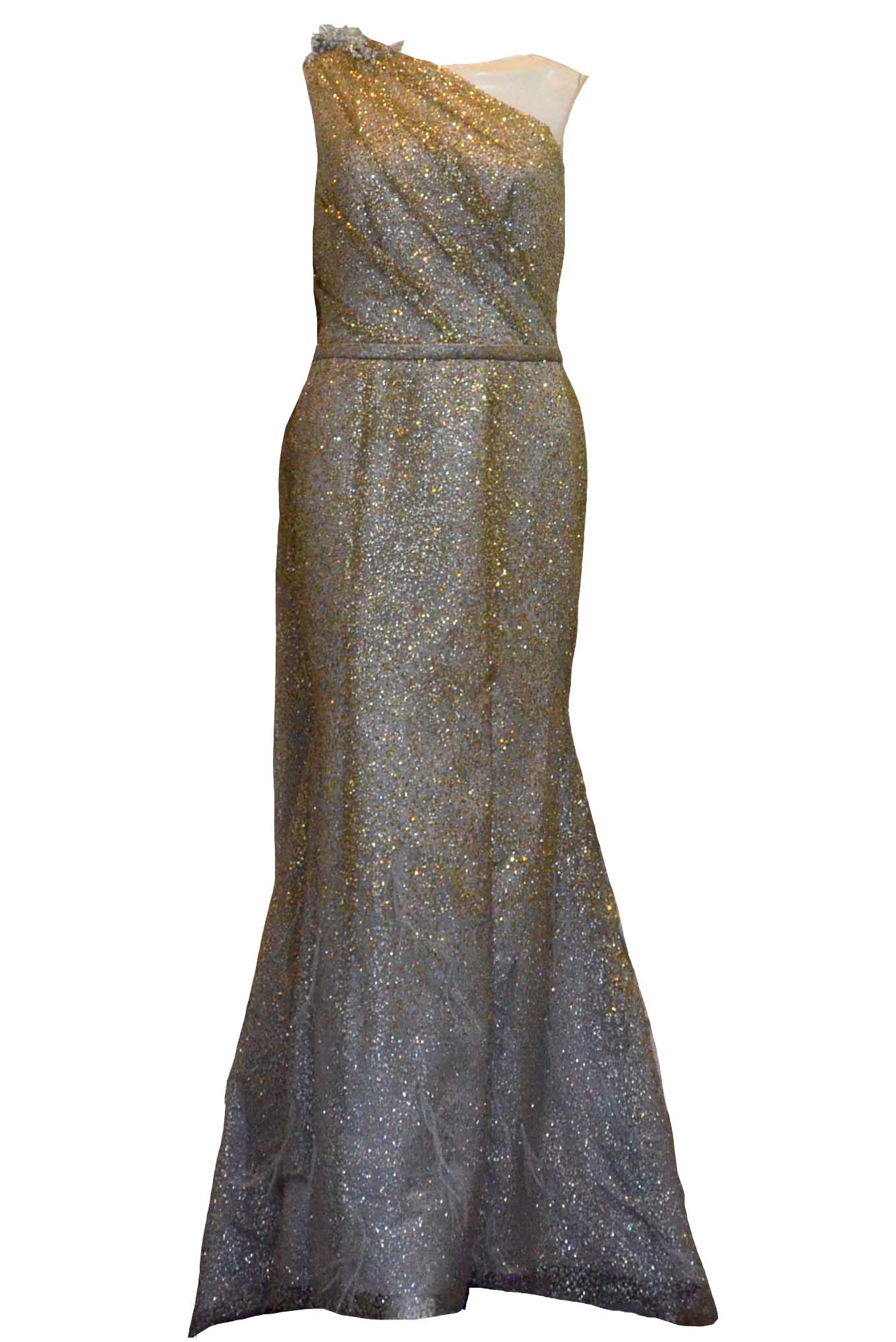 Buy : Rachm Design - Gold One Shoulder Glittery Gown