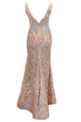 Rent : Giovani Wanda - White Embroidered V-Neck Gown