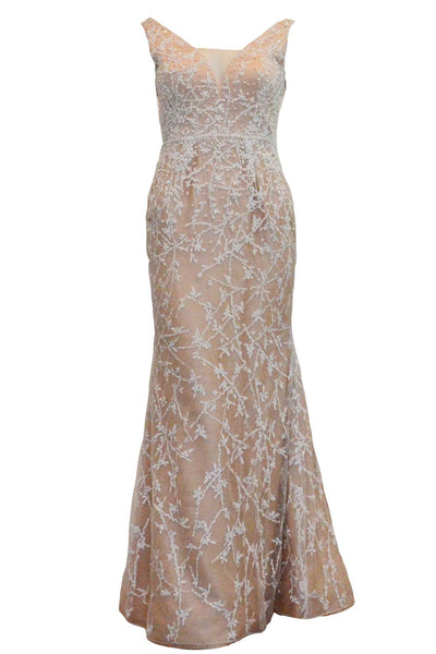 Rent : Giovani Wanda - White Embroidered V Neck Gown