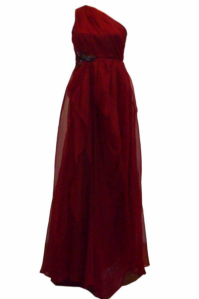 Rent : Badgley Mischka - Maroon One Shoulder Chiffon Dress