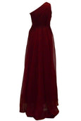 Buy : Badgley Mischka - Maroon One Shoulder Chiffon Dress