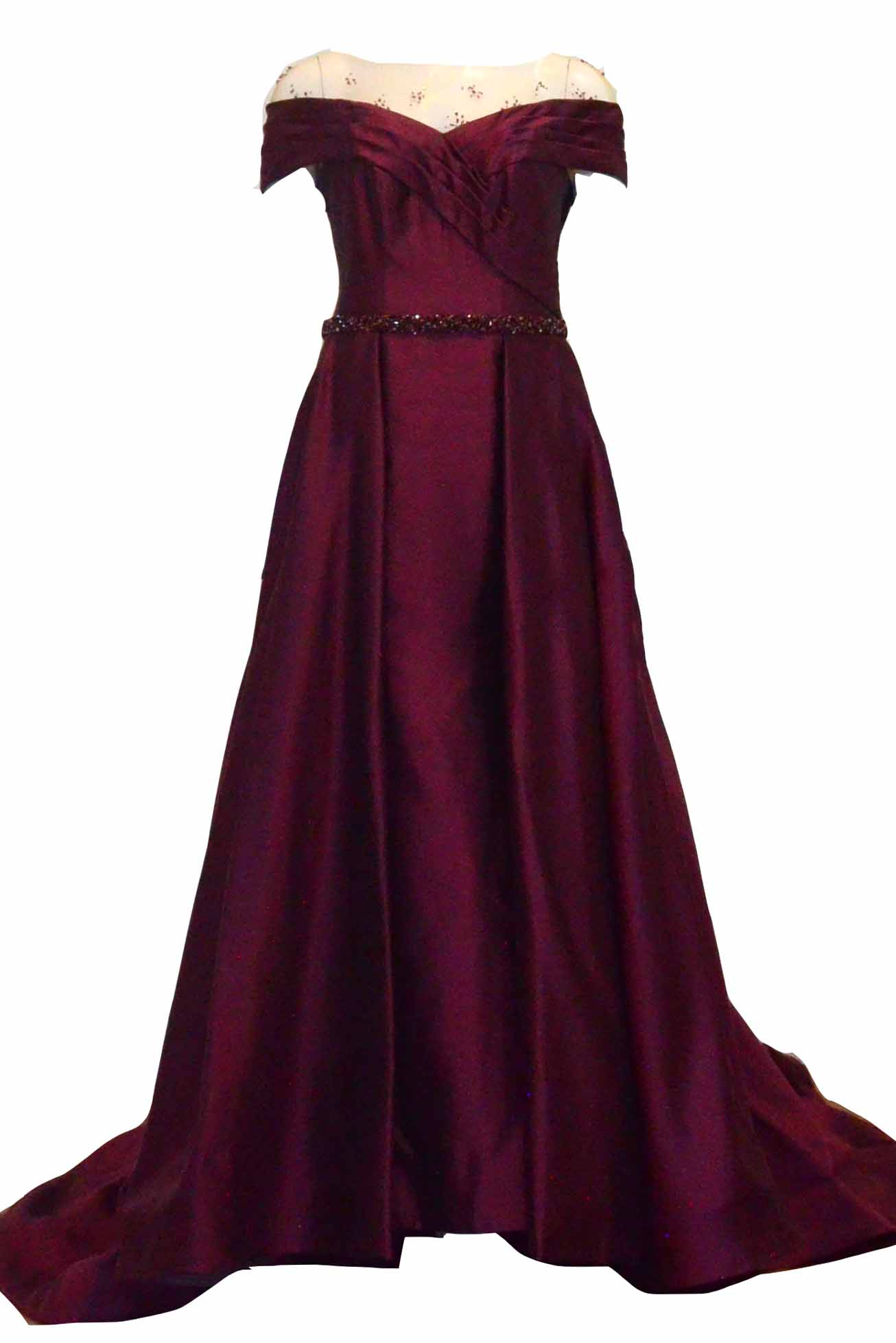 Rent : Rachm Design - Maroon Off Shoulder Satin Gown