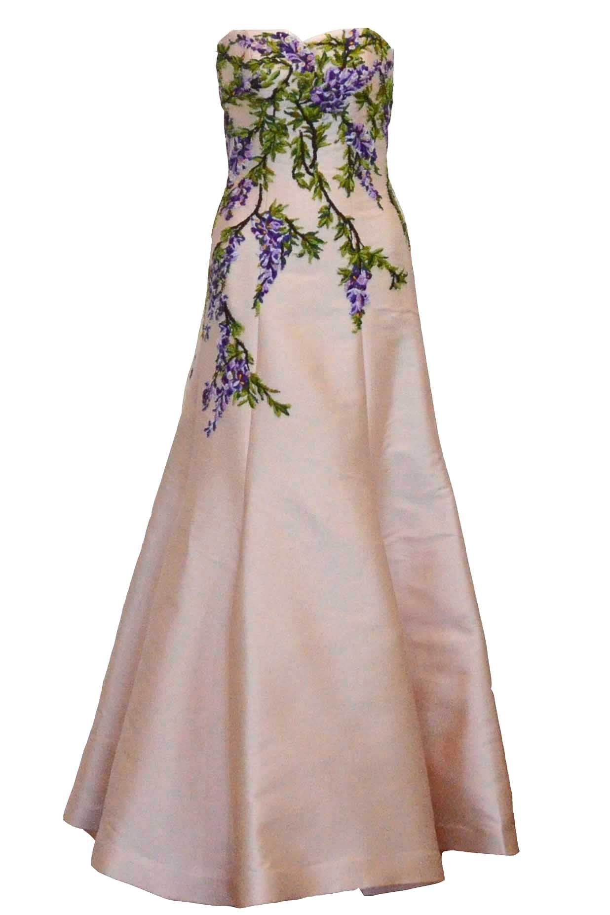 Buy : Didi Budiardjo - Embroidered Peach Strapless Gown