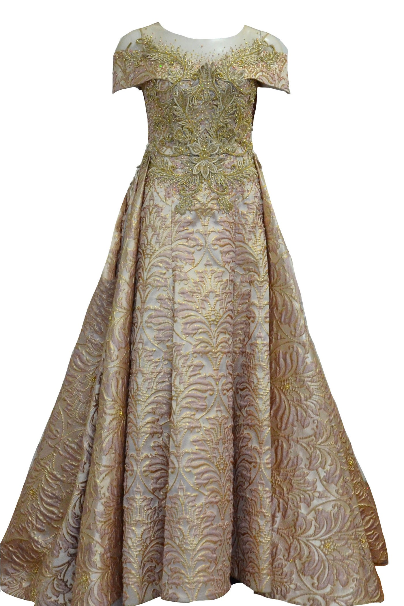 Buy : Sisca Zh - Short Sleeves Jacquard Ball Gown