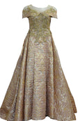 Rent: Sisca ZH - Short Sleeves Jacquard Ball Gown