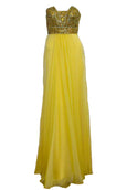 Rent : La Femme - Yellow Strapless Beaded Long Dress