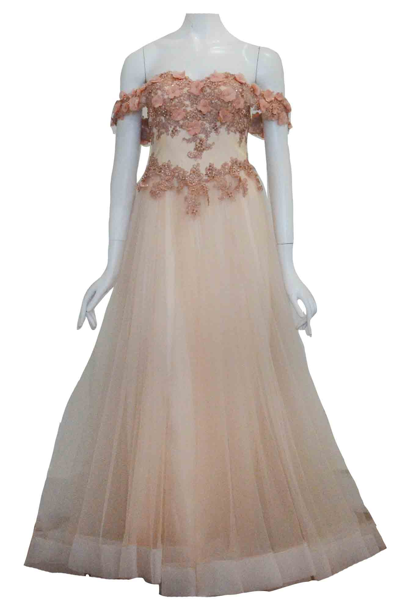 Rent : Ma Cerie - Peach Off Shoulder Flower Tulle Gown