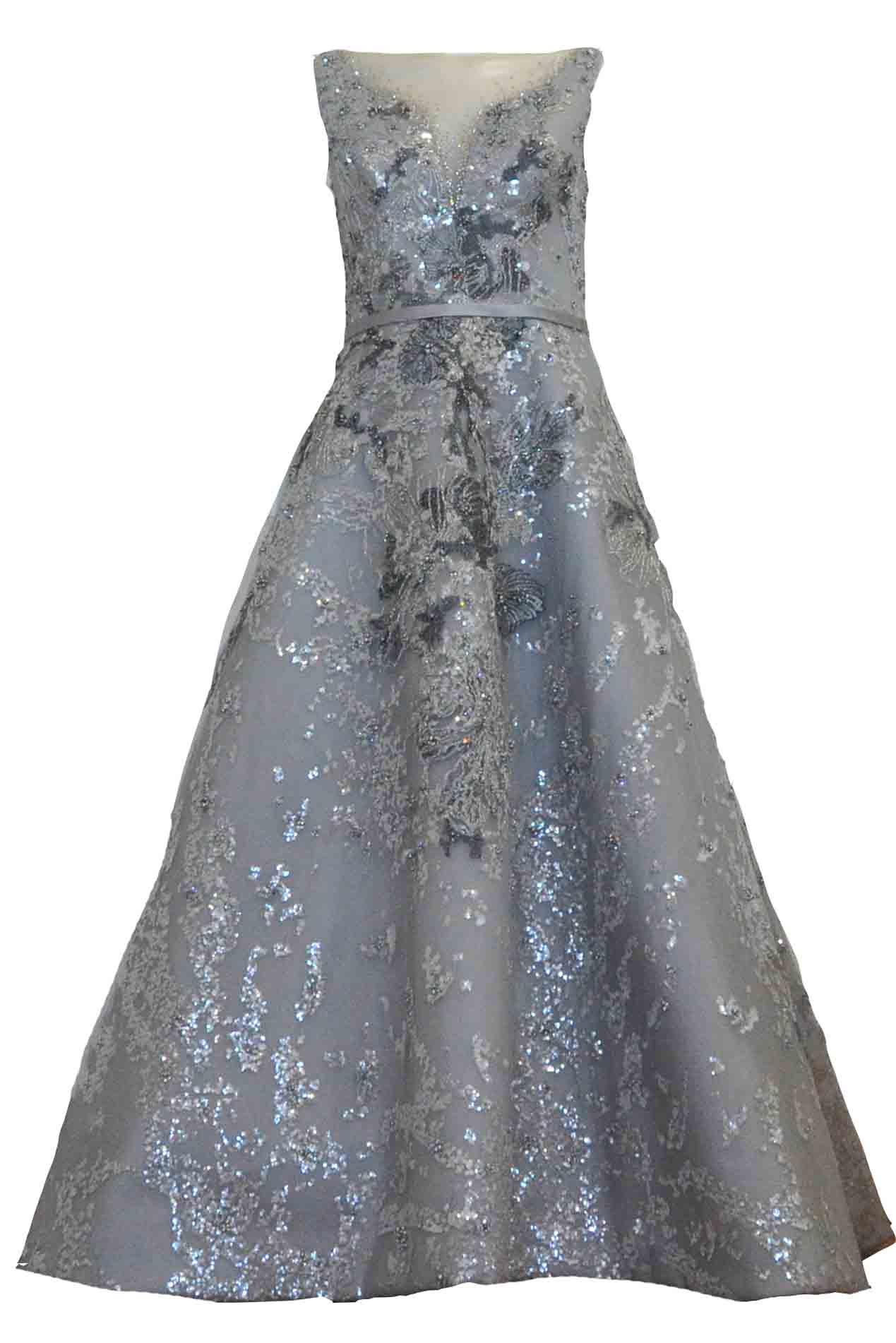 Buy : Hian Tjen - Silver Sparkly V Neck Beaded Gown