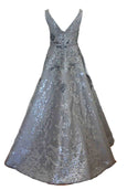 Rent: Hian Tjen - Silver Sparkly V Neck Gown