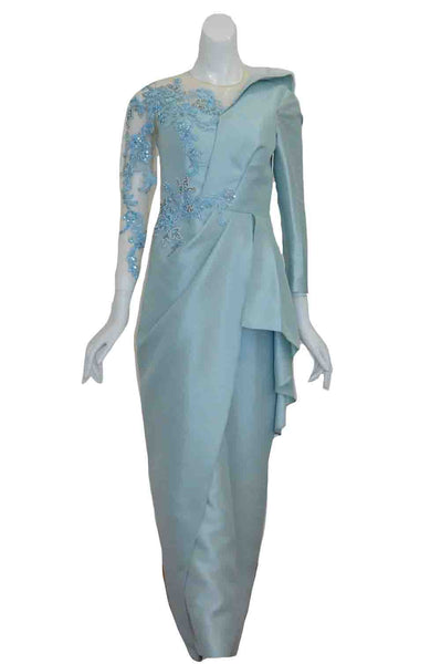 Rent: Yosep Sinudarsono - Blue Long Sleeves Embellishment Satin Dress