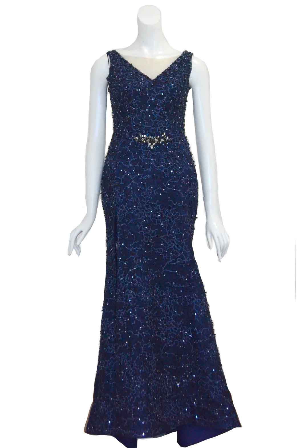 Rent: Winda Halomoan - Navy Blue V Neck with Beaded Mermaid Gown