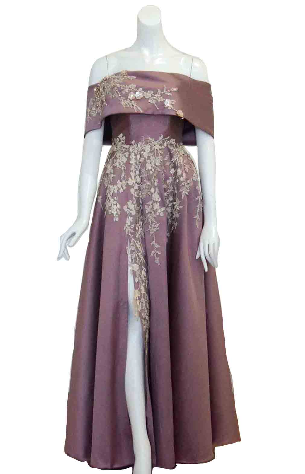 Rent : Private Label - Off Shoulder Embroidery Satin Gown