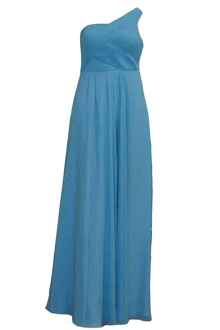 Rent: Natalie Sugandi - Blue One Shoulder Pleated Chiffon Dress