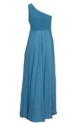 Sale: Natalie Sugandi - Blue One Shoulder Pleated Chiffon Dress