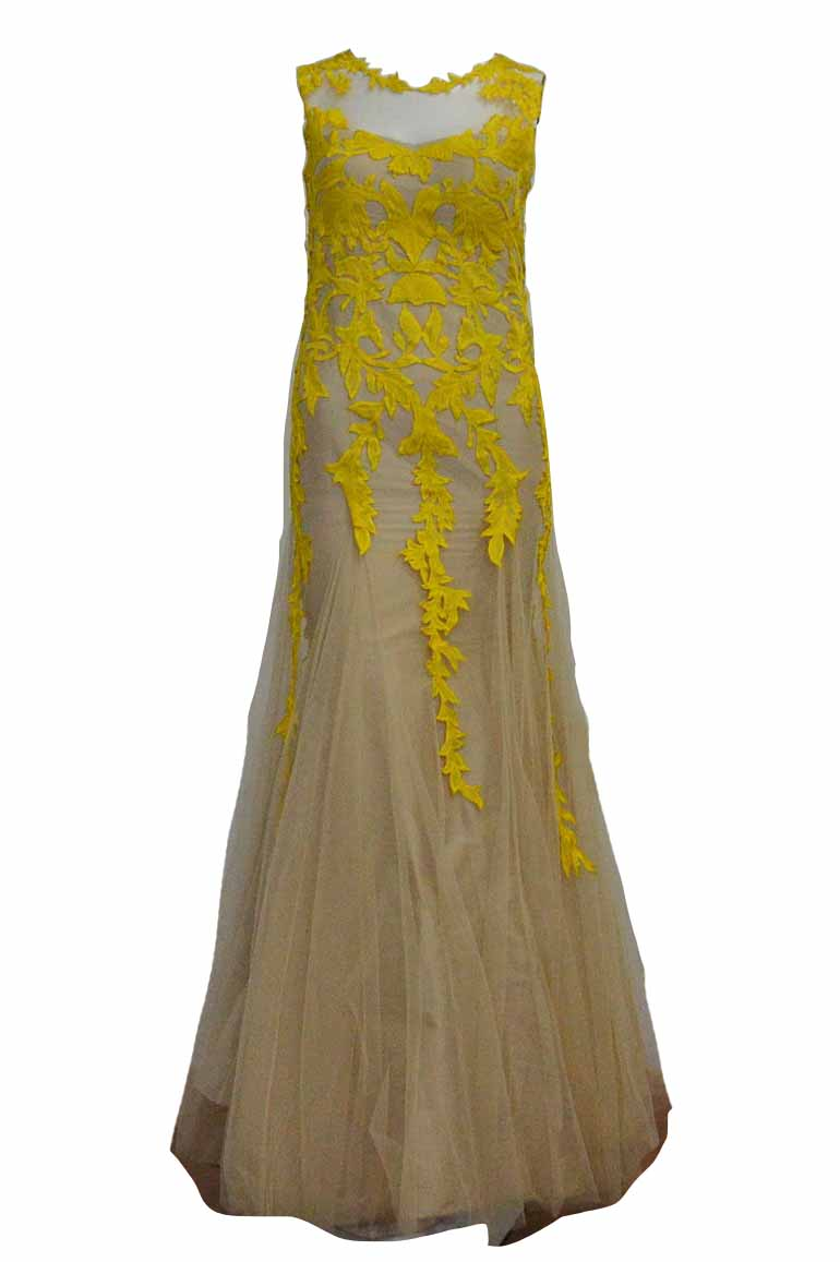 Rent : Raisa - Yellow Embroidery Flower Tulle Gown