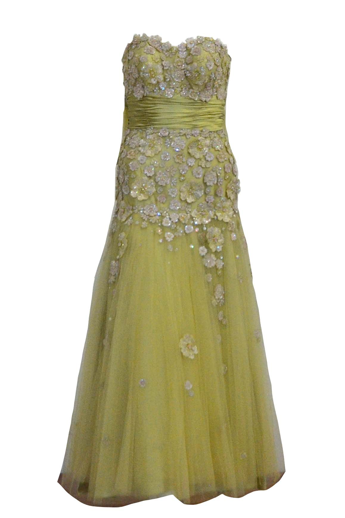 Buy : Private Label - Green Embellishment Gown with Tulle