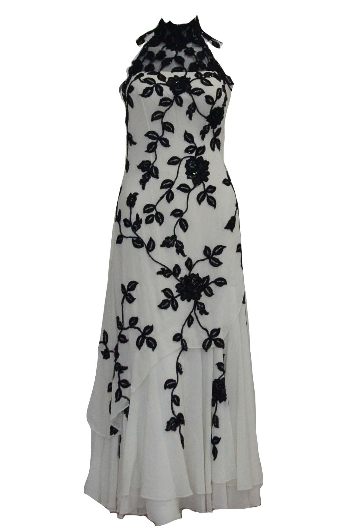 Rent : Private Label - Black White Halter Cheongsam Dress