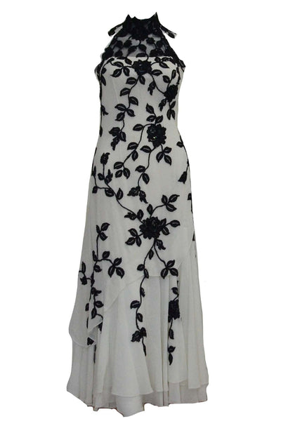 Buy : Private Label - Black White Halter Cheongsam Dress