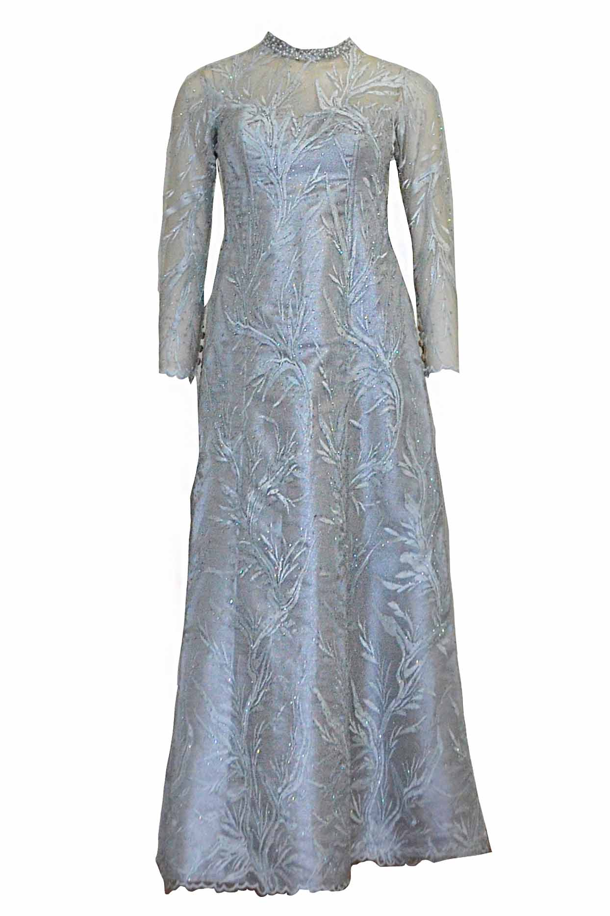 Rent: Gisela Privee - Blue Long Sleeves Embroidered Evening Dress