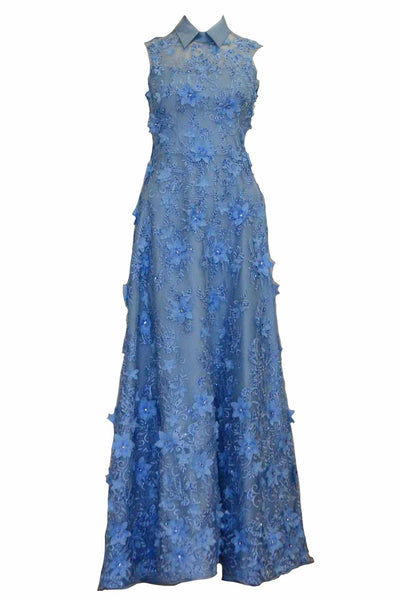 Rent: Gisela Privee - Blue Embroidery Sleeveless Gown