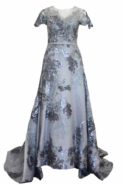 Rent: Hian Tjen - Silver Short Sleeves Sparkly Gown