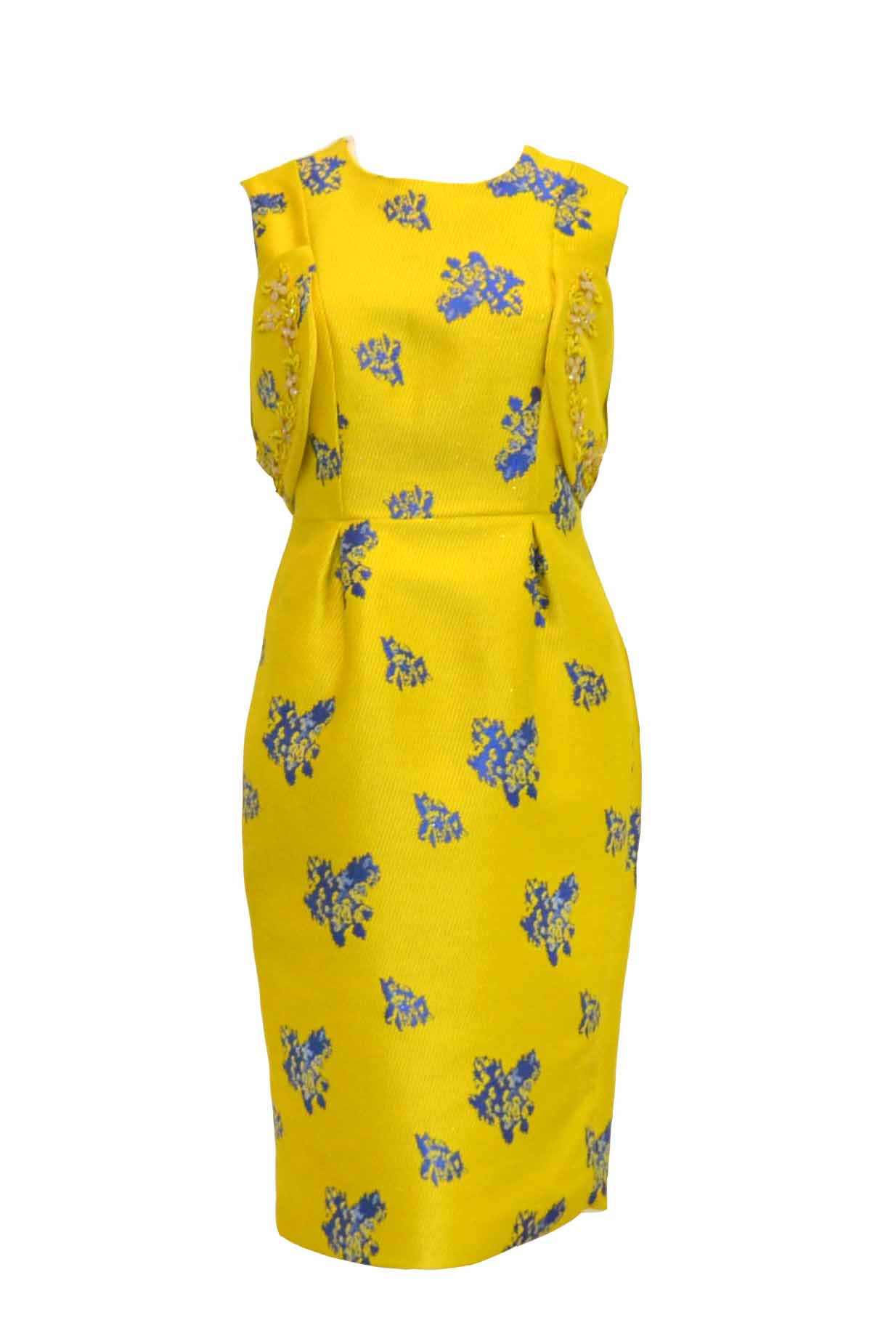 Sale: Private Label - Yellow Jacquard Sleeveless Cold Shoulder Cocktail Dress
