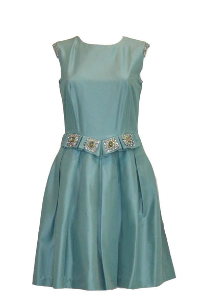 Sale: Jessica Dusty Blue Sleeveless Pleated Skirt Dress