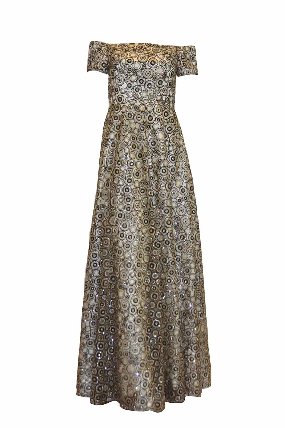 Rent: Mugen Fashion Golden Fully Embellished Sleeveless Gown