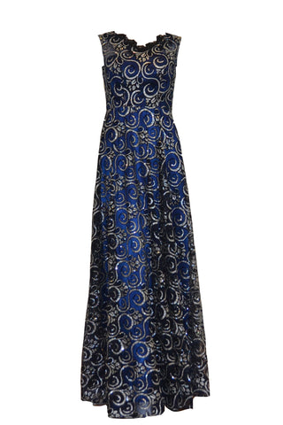 Sale: Mugen Fashion  Navy Blue Fully Beaded Gown