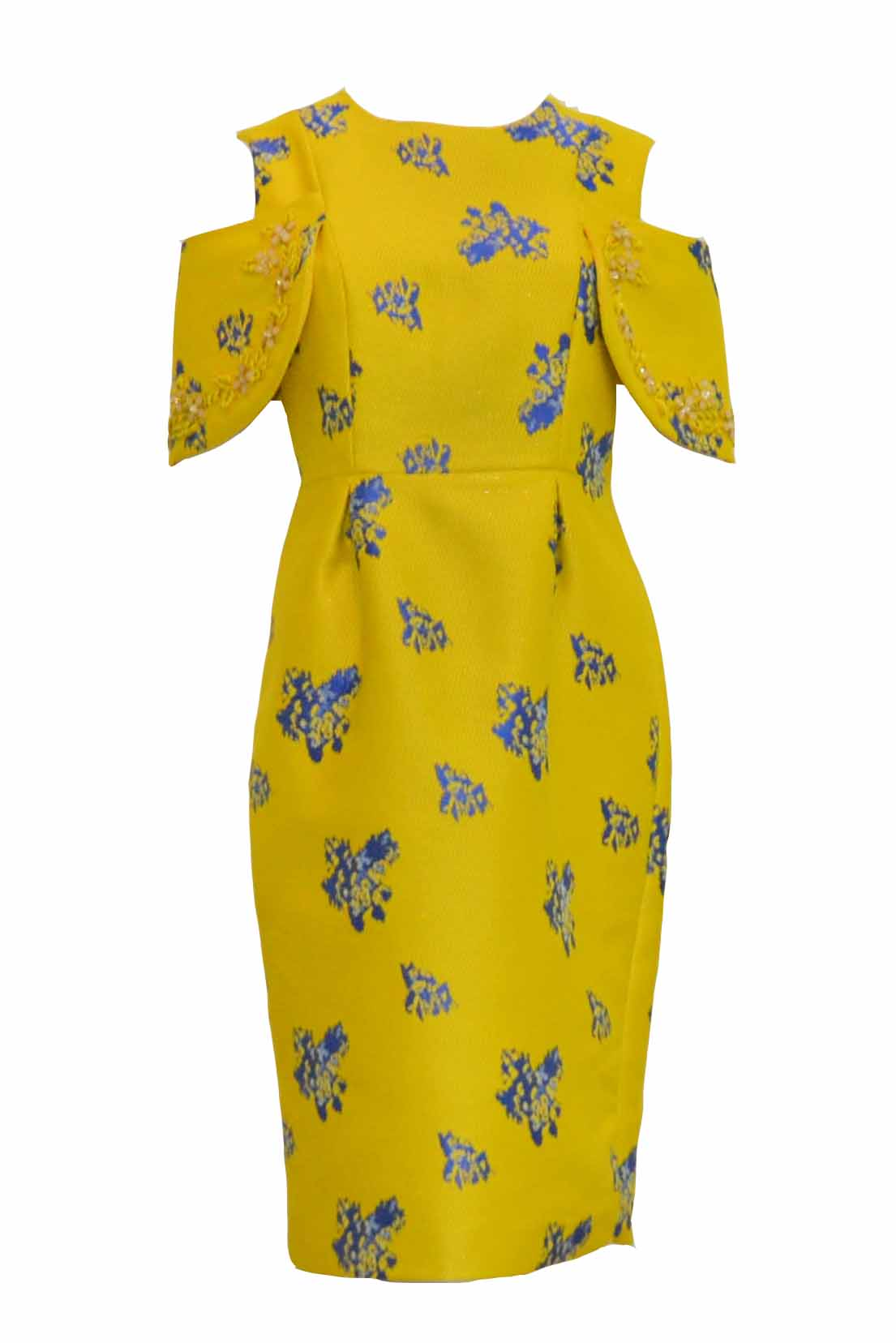Rent: Private Label - Yellow Jacquard Sleeveless Cold Shoulder Cocktail Dress