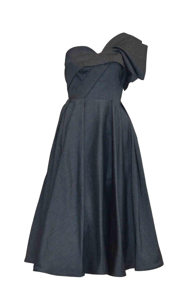 Rent: Peggy Hartanto Grey One Shoulder with Bow Midi Dress