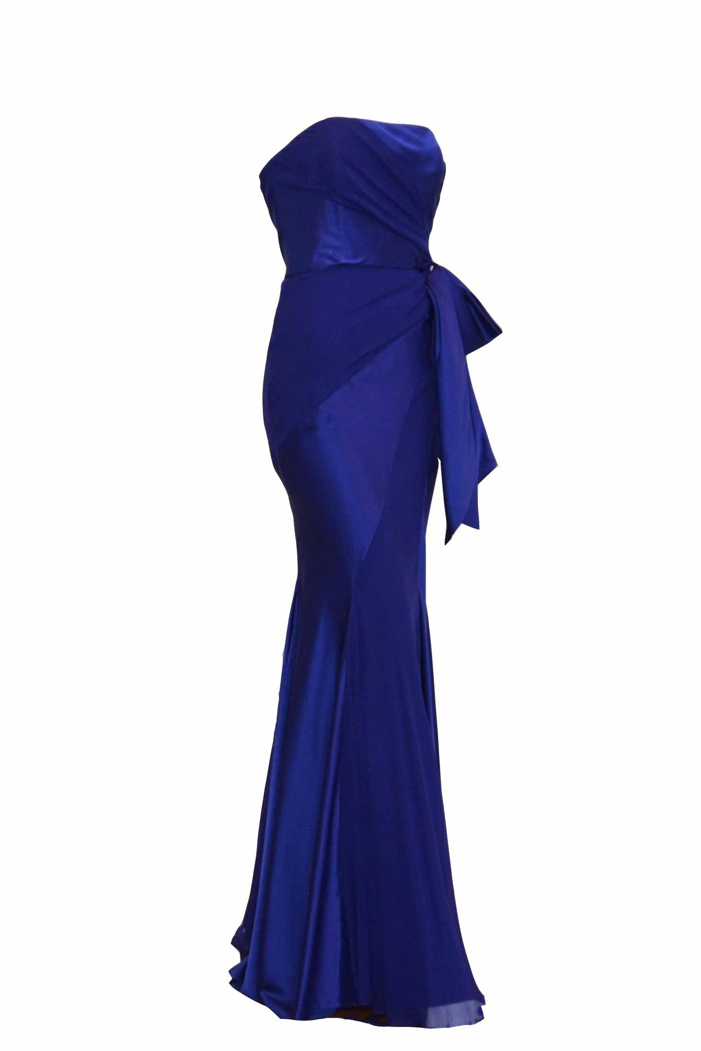 Rent: Melinda Eng - Blue Satin with Bow Dress