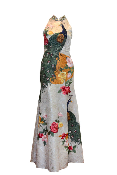 Rent: Biyan White Neck Beaded Cheongsam Long Dress