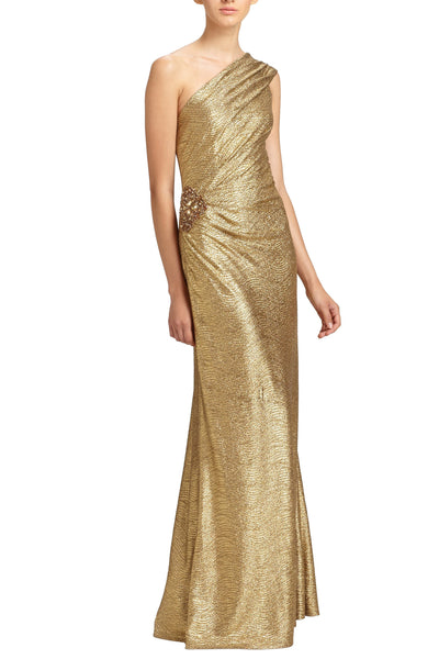 Sale: David Meister Metallic One Shoulder Gown