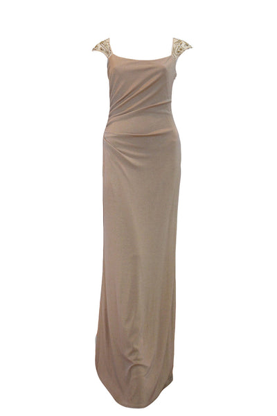 Rent: David Meister Metallic Sand Gathered Evening Gown