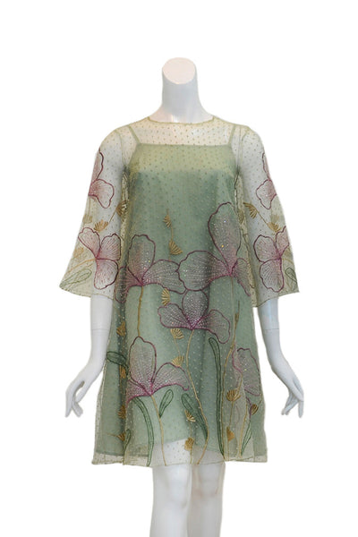 Rent: Denny Wirawan - Green Pastel Flower Embellishment Dress