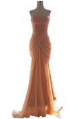 Rent : Didi Budiardjo - Peach Chiffon Strapless Dress