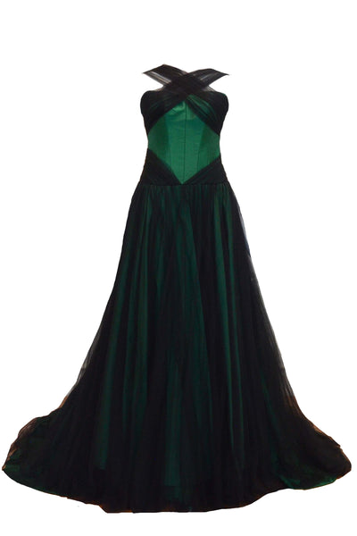 Rent: Dominique Nadine Green Halter Tulle Gown