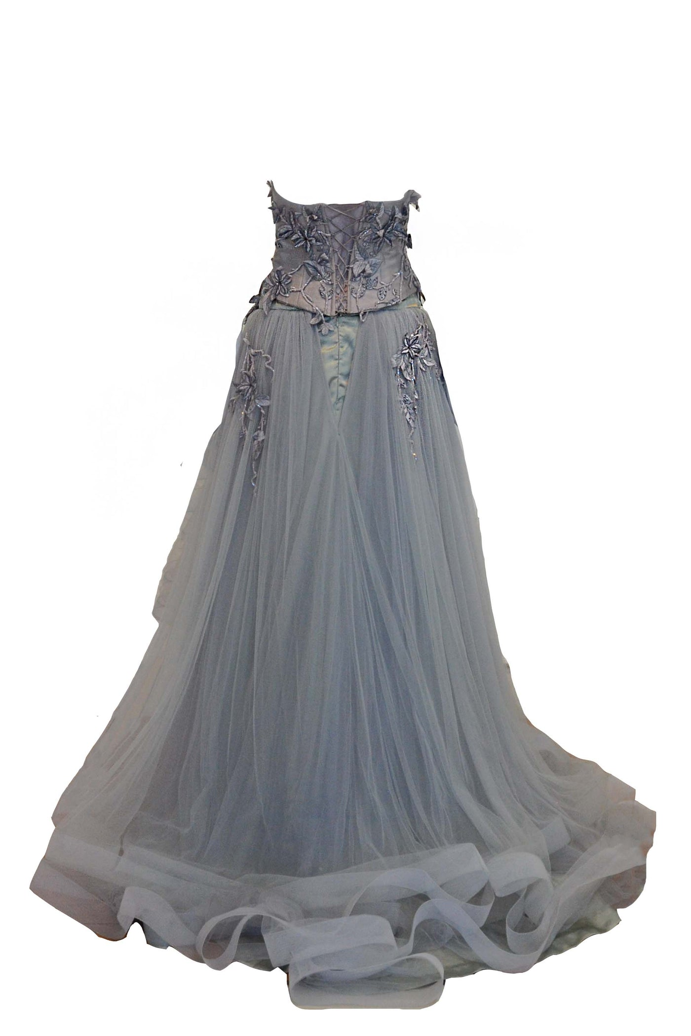 Sale: Dominique Nadine Grey Strapless Brocade Tulle Gown