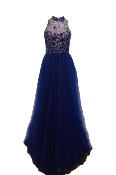Rent: Dorcas - Backless Blue Gold Lace Tulle Dress