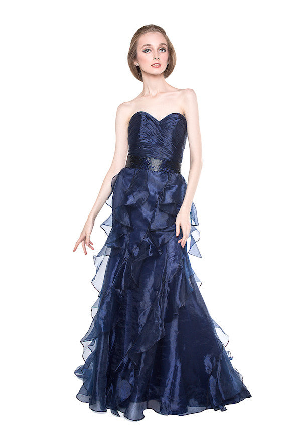Private Label - Rent: Private Label Blue Organza Gown-The Dresscodes - 1