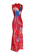 Sale: Euneke Red Cheongsam Phoenix Satin Gown