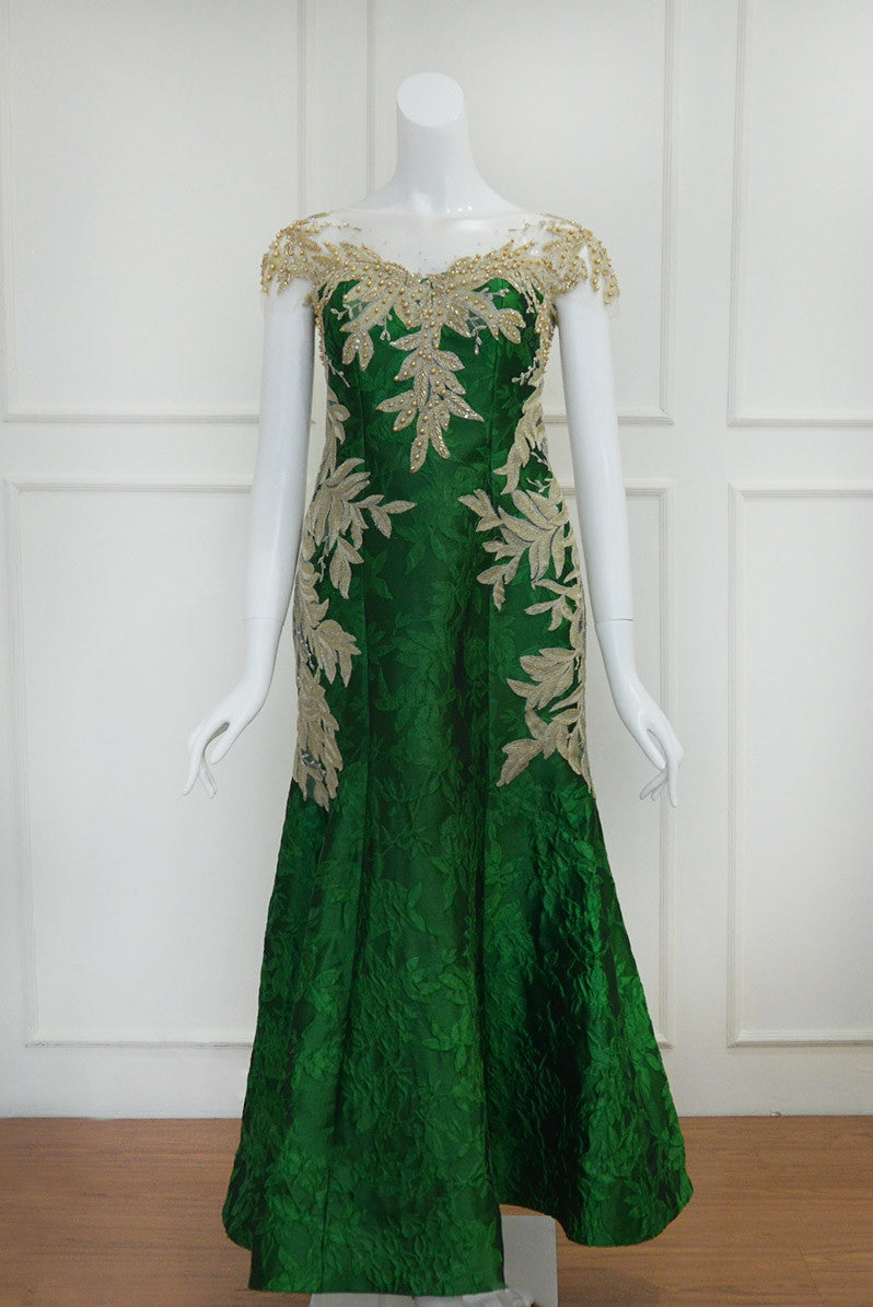 Buy: Fetty Rusly Green Jacquard Gown