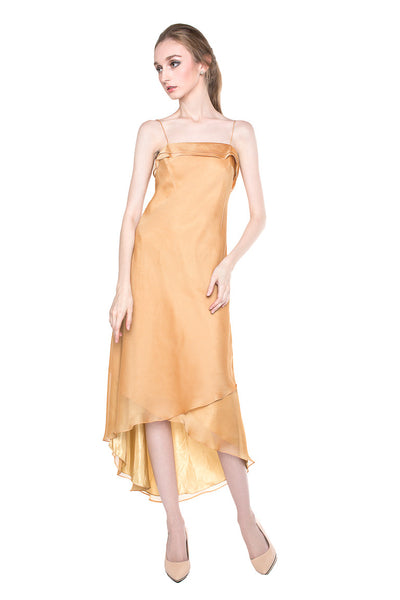 Eddy P. Chandra - Rent: Eddy P. Chandra Gold Satin Slip Dress-The Dresscodes - 1
