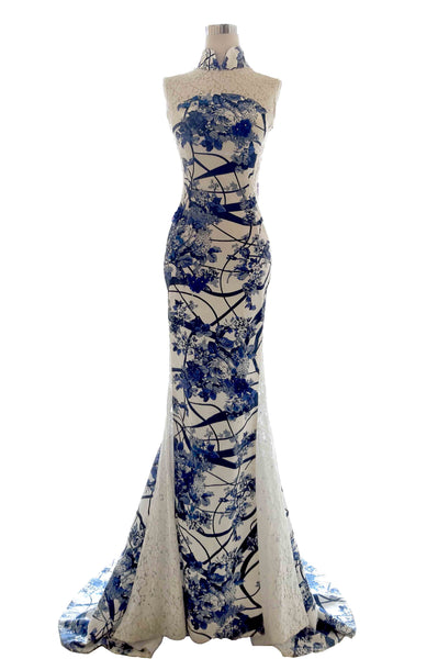 Rent : Eko Tjandra - Blue Floral Print CheongSam Mermaid Dress